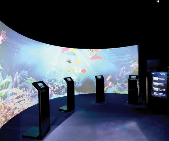 400吋巨型電子互動水族觀景窗,水底生態就在眼前。