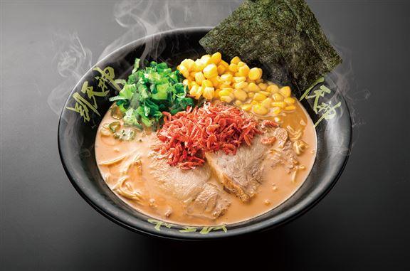 「蝦味噌豚骨湯麵」以日本北海道直送的蝦味噌,加上自家淆製的濃郁豚骨湯作為湯底,配合九州系幼麵條及叉燒、蔥、粟米、紫菜、日本櫻花蝦乾和蝦油作配料。