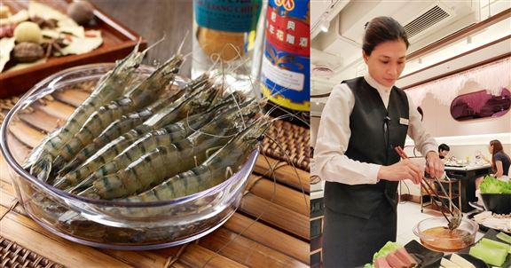 活醉海花蝦由店員代勞灼熟。