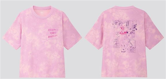 這款UNIQLO x《美少女戰士》Tee採用了時尚的紮染印花設計,背面則呈現出美少女戰士誕生的畫面。