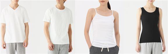 男裝有機棉無側縫短袖T裇2件裝 / 女裝有機棉背心2件裝