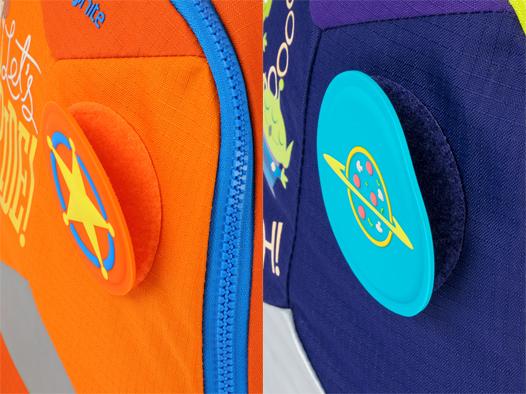 書包設計加入「反斗」元素,例如魔術貼章,小粉絲一定歡喜。
