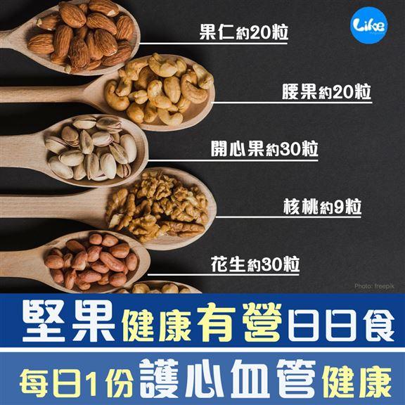 有營養師建議,每日最多可吃一份約30克堅果,即大約30粒花生或20粒杏仁或15粒腰果或9粒核桃或30粒開心果。