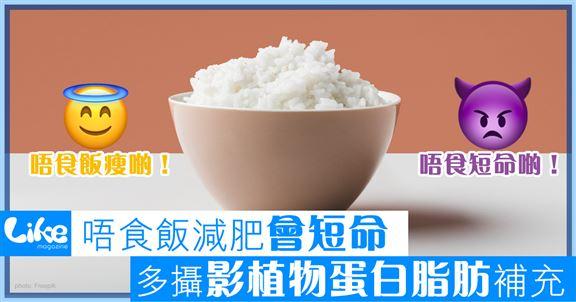 唔食飯減肥會短命        多攝植物蛋白脂肪補充