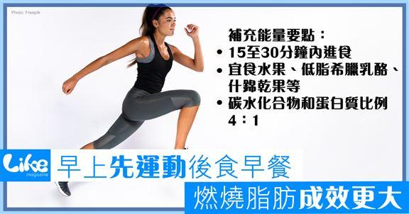 早上先運動後食早餐                   燃燒脂肪成效更高