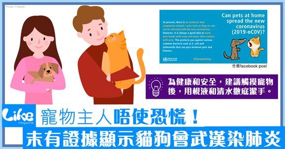 寵主唔使恐慌│世衛: 未有證據顯示貓狗會染武漢肺炎