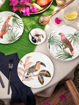 H&M巨嘴鳥和棕櫚樹圖案餐具