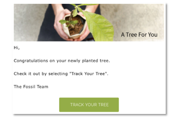 Fossil 與 EcoMatcher 合作,顧客購買Fossil限量版「太陽能腕錶套裝」,將代顧客透過EcoMatcher種植一棵樹。