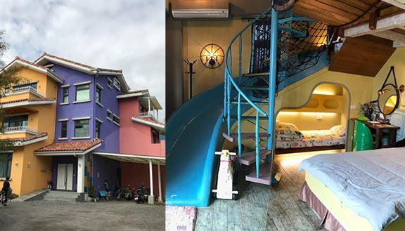 鄰近花蓮火車站特色親子民宿|房內旋轉滑梯大人小孩玩翻天