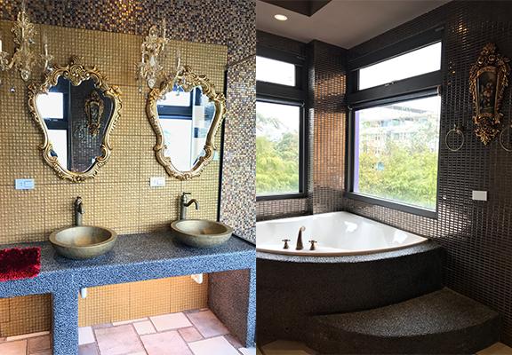 浴室也延續貴族風。全間民宿只有兩間主題房有浴缸,「國王」的密室當然有。
