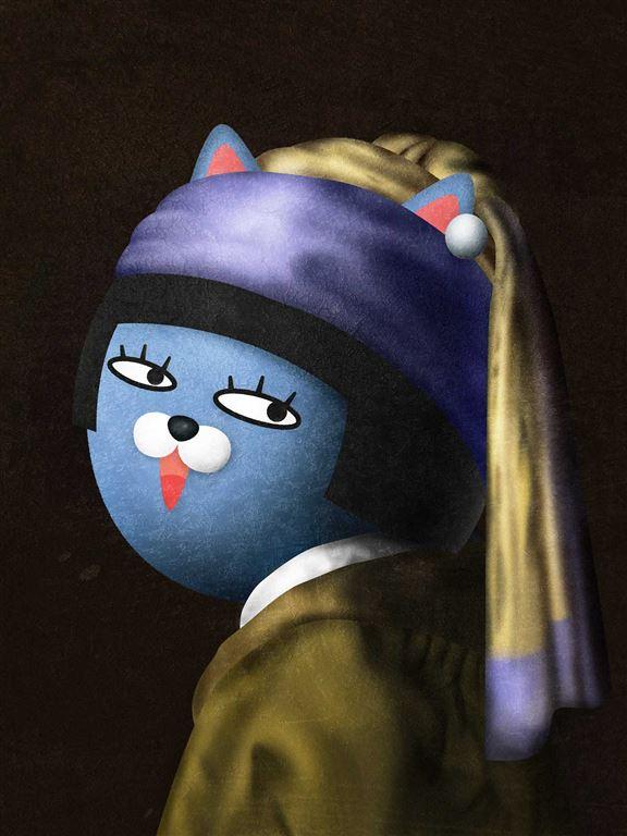改編自維梅爾筆下的《戴珍珠耳環的少女》,Neo親自化身成「戴珍珠耳環的Neo」,浮誇又高傲地回眸一笑!