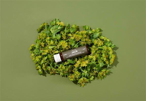 Jack主要成分包括:水解豌豆蛋白、麥冬根萃取物、人參萃取物、聖潔莓萃取物、側柏萃取物、百里香油及阿特拉斯雪松油等。