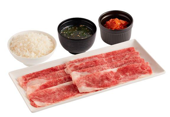 「宮崎和牛前胸肉套餐」配白飯、和風湯及泡菜或迷你沙律 $135(100g) /$192(200g)