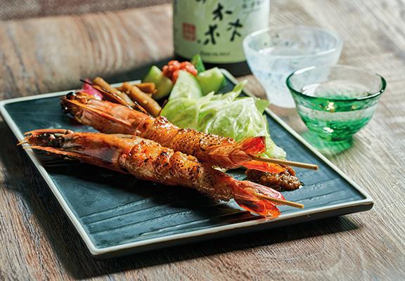 串燒雞皮海虎蝦 $58
